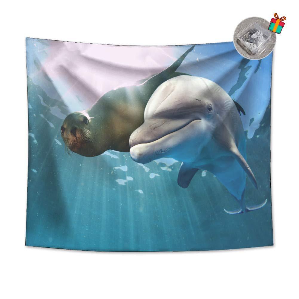 Enhome Tapiz Pared Decoracion Grande, 3D Saltar Delfín Estampado ...