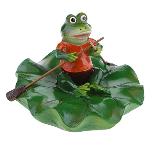 (Joysiya Water Floating Lotus Leaf with Frog Ornament Figurine Statue Craft for Home Garden Pond Decoration Photo Prop Gift - Rowing)