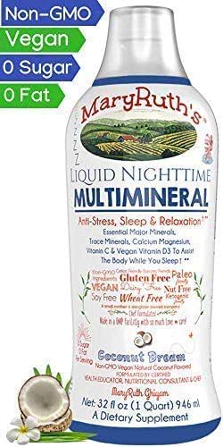 Liquid Sleep Multimineral by MaryRuth (Coconut) Vegan Vitamins, Minerals, Magnesium, Calcium & MSM | Natural Sleep & Stress Aid | Muscle Relaxation | NO Melatonin | Non-GMO Paleo 0 Sugar 0 Fat 32oz