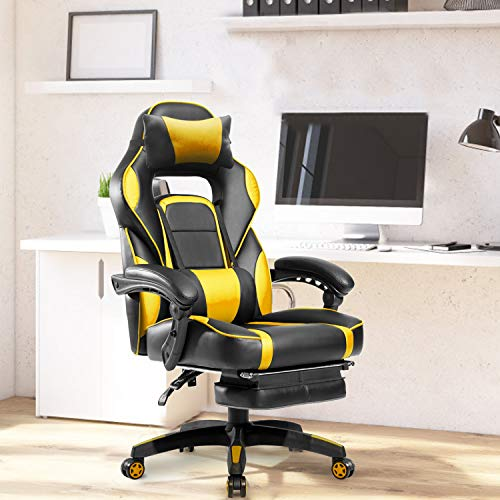 Merax Racing Gaming Chair with Footrest | Ergonomic Office Reclining Chair Computer Gamers PC Racer, High Back Large Home Desk Chairs Executive Adjustable Armrests and Comfortable Seat (Yellow)