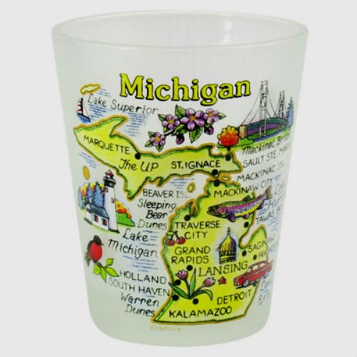 Michigan Map Frosted Shot Glass