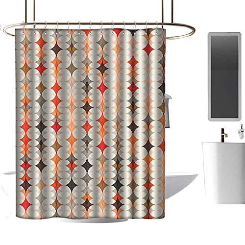 Qenuan Vintage Shower Curtain Geometric,Vintage Oval Pattern with Radiant Tone Effects Mosaic Illustration,Cream Peach Orange Red,for Bathroom Showers, Stalls and Bathtubs 72