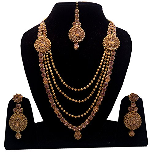 Shoppingover Indian Jwelleries Golden stone necklace chain earrings set for women
