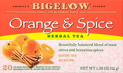 Bigelow Orange & Spice Herbal Tea 20 Bags (Pack of 6) Caffeine-Free Individual Herbal Tisane Bags, for Hot Tea or Iced Tea, Drink Plain or Sweetened with Honey or Sugar ()