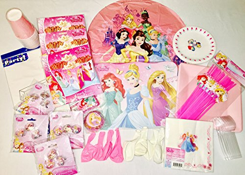 Disney Princess Ultimate Birthday Party Supplies Decorations Bundle Serves 8 Includes Plates Napkins Balloons Cups Tablecloth Favors Forks Straws (100+ PCS)