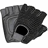 Allstate Leather Leather Fingerless Motorcycle Gloves with Black Mesh and Padded Palm L Black