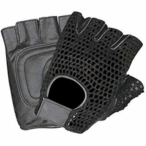 Allstate Leather Leather Fingerless Motorcycle Gloves with Black Mesh and Padded Palm L Black Mens Mesh Leather Glove