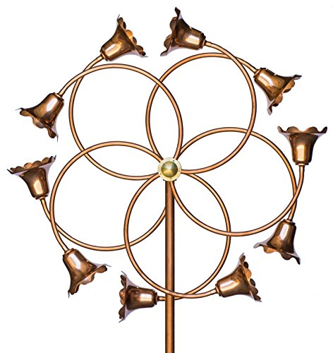 Large Copper Wind Spinner - Stanwood Wind Sculpture Kinetic Copper Dual Spinner - Tumbling Flowers