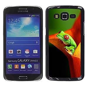 Paccase / SLIM PC / Aliminium Casa Carcasa Funda Case Cover para - Flower Frog Green Orange - Samsung Galaxy Grand 2 SM-G7102 SM-G7105