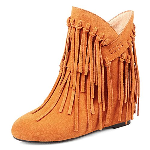 Heel Seven Cute Party Tassels Nine Boots Handmade Mid Classy Round Brown Ankle Toe Leather Suede With Women's RnwUB0