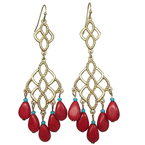 Long Filigree Double Drop with Dangle Stones Gold Tone Boutique Style Earrings -Multi Color (Red & Blue) (3 Stone Gold Tone Earrings)