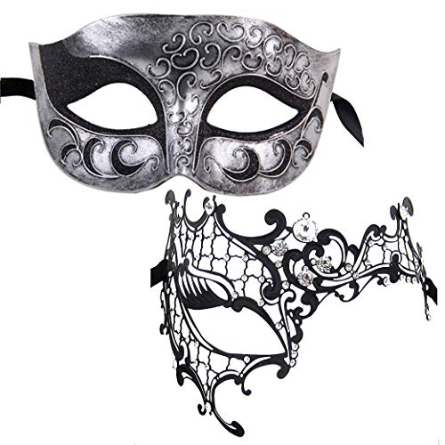 (Xvevina Womens Metal Mask Mens Half Face Plastic Masquerade Ball Mask for Couples (Phantom)