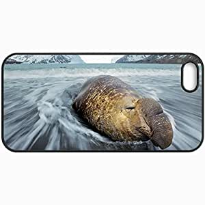 Customized Cellphone Case Back Cover For iPhone 5 5S, Protective Hardshell Case Personalized Sea Elephant Sea Nature Waves Black
