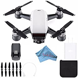 Dji Spark Quadcopter (Alpine White) Cp.pt.000731 + Fibercloth Bundle (White Box)