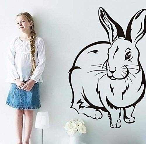 Fat Rabbit Halloween Stickers (Wall Stickers Cute Rabbit Outline for Kids Room Babys Room Decorative Vinyl Removable Wall Art Decal Home Decoration Accessories)