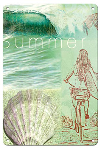 Pacifica Island Art 8in x 12in Vintage Tin Sign - Summer - Surfer Girl by Wade -