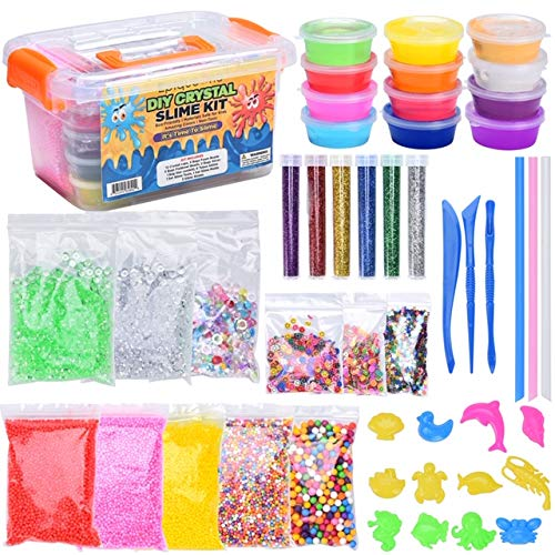 EPIQUEONE DIY Slime Kit: 47 Piece Fluffy Slime Making Supplies, 12 Cups Crystal Slime Colorful Foam, Fishbowl Beads, Glitter, Slime Tools & Container for Holidays, Birthdays (Birthday Party Ideas For 7 Yr Old Girl)