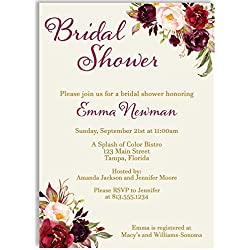 Bridal Shower Invitations, Burgundy, Botanical, Watercolor, Vintage, Victorian, Blooms, Floral, Flowers, Wedding, Personalized, Customized, 10 Printed Invites and Envelopes, Burgundy Blooms Bridal