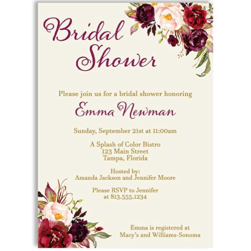 Vintage Bridal Shower Invitations - Bridal Shower Invitations, Burgundy, Botanical, Watercolor, Vintage, Victorian, Blooms, Floral, Flowers, Wedding, Personalized, Customized, 10 Printed Invites and Envelopes, Burgundy Blooms Bridal