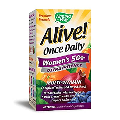 The most complete once daily multi-vitamin for Women 50+, with 26 Fruits & Vegetables, 22 Vitamins & Minerals, 14 Green Foods, 12 Organic Mushrooms, 12 Digestive Enzymes. Alive Ultra Potency is nutrition you can feel with more energizing nutr...