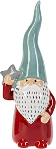 MMS Gifts Ceramic Holiday Gnomes Swedish Decor A Merry Magical Figurine 1 Single Standing Bearded Santa in Red Teal or Tan (Red Swedish Gnome)