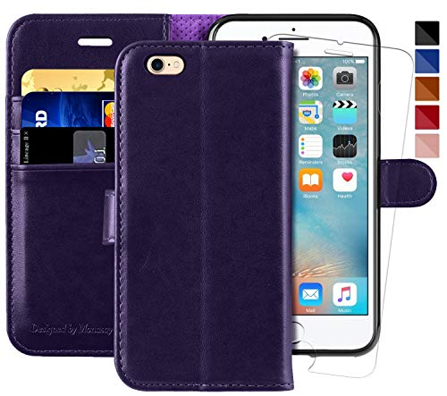 iPhone 6 Wallet Case/iPhone 6s Wallet Case,4.7-inch, MONASAY [Glass Screen Protector Included] Flip Folio Leather Cell Phone Cover with Credit Card Holder for Apple iPhone 6/6S (Purple)