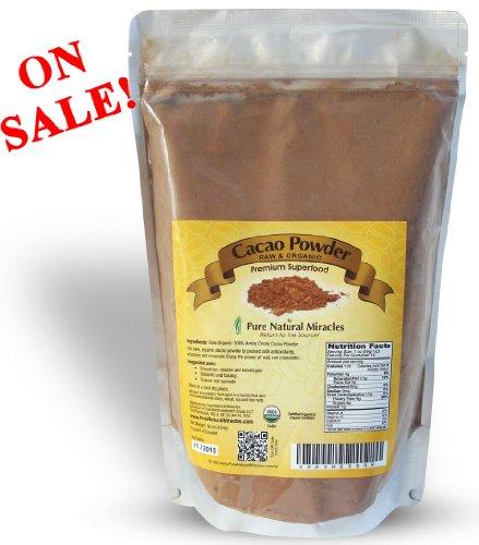 Poudre de cacao cru Produit bio, chocolat noir poudre de cacao non sucré, 1LB, plus haut Superfood Antioxydant, 100% satisfaction garantie.