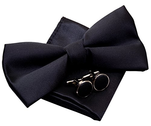 """Retreez Plain Woven Microfiber Pre-tied Bow Tie (Width: 5"""") with matching Pocket Square and Cufflinks, Gift Box Set as a Christmas Gift, Birthday Gift - Black"""