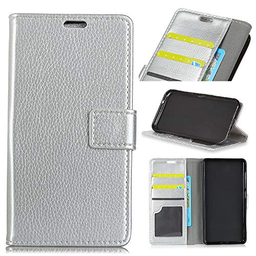 HikerClub Moto G7 Case [Litchi Pattern] Premium PU Leather Wallet Flip Case Soft TPU Shell Card Slot Cash Pocket Shockproof Protective Phone Case Cover for Moto G7 (Silver)