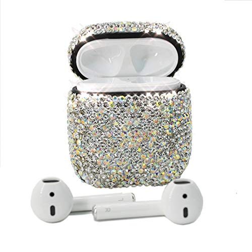 Airpods Case,MeiQing Bling Luxurious Diamonds AirPod Charging Protective Case Cover for Airpods Earphones Accessories Great Gift (Silver)
