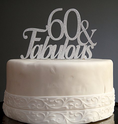 All About Details Silver 60-&-fabulous Cake Topper