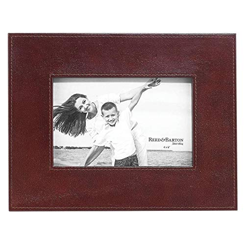 Sumptuous Dark Brown Leather Hudson 4x6 Frame by Reed & Barton - 4x6