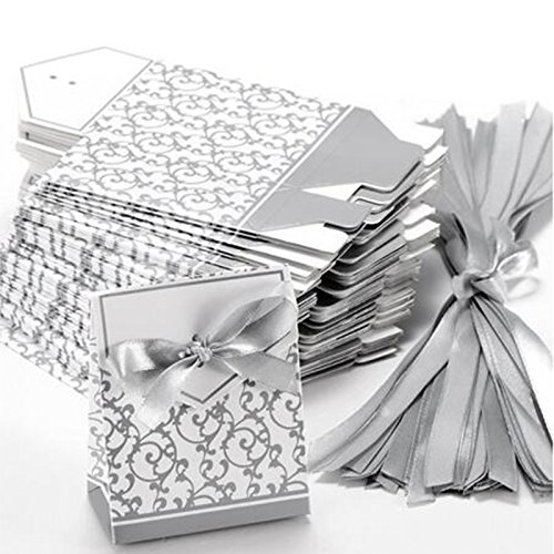 GRC[TM] Best Price 100 pcs Silver Wedding Gift Favors Favor Candy Cake Party Boxes Bags (Harry Potter Gift Wrapping Ideas)