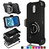 Galaxy Note 3 Case, Honeycase Military Extreme-Duty Shockproof Rugged Hybrid Armor Case Cover With Belt Clip Holster Rotating Kickstand and Screen Protectorfor Samsung Galaxy Note 3 N9000 (Black)