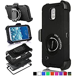 Galaxy Note 3 Case, Honeycase Military Extreme-duty Shockproof Rugged Hybrid Armor Case Cover With Belt Clip Holster Rotating Kickstand & Screen Protector For Samsung Galaxy Note 3 N9000 (Black)