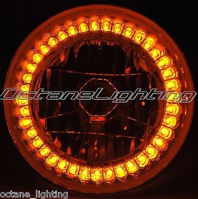 OCTANE LIGHTING 5-3/4 Motorcycle Halogen H4 Headlight Light Bulb Crystal Amber Led Halo Ring Eye