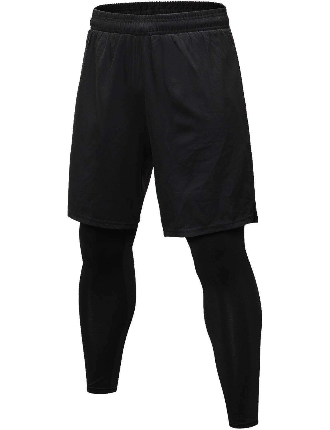 Lavento Men's 2-in-1 Running Shorts with Built-in Compression Leggings (1 Pack-3912 Black, X-Large) by Lavento