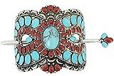 Skelapparel Southwest Navajo Bohemian Faux Red & BlueTurquoise squash Blossom hair barrette Hair stick (Bohemian)