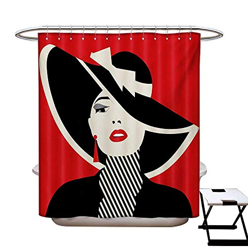 Girls Shower Curtains Sets Bathroom French Style Icon in Shabby Chic Classical Vintage Hat and Striped Coat Design Print Satin Fabric Sets Bathroom W69 x L70 Red Black from BlountDecor