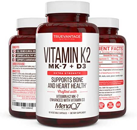 Premium Extra Strength Vitamin K2 with D3 – Vitamin D3 K2 MK7 Supplement for Healthy Bones, Healthy Heart & Cardiovascular Health- MenaQ7 180 mcg & Vitamin D3 5000 IU-Vitamin K Complex- 60 Capsules
