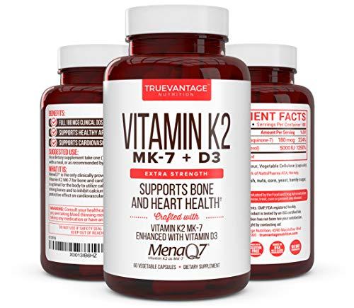 Premium Extra Strength Vitamin K2 with D3 - Vitamin D3 K2 MK7 Supplement for Healthy Bones, Healthy Heart & Cardiovascular Health- MenaQ7 180 mcg & Vitamin D3 5000 IU-Vitamin K Complex- 60 Capsules