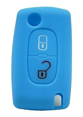 1 x Turquesa/Silicona Móvil para 2 botones Peugeot/Citroen ...