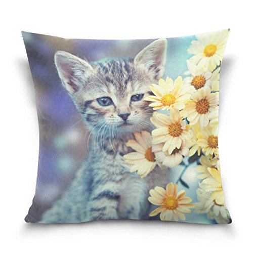 ith Daisy Throw Pillow Case Covers Soft Velvet Cushion Cover Pillow Case for Sofa Bed 20x20 inches, Set of 2 ()