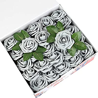 Febou Artificial Flowers, Real Touch Artificial Foam Roses Decoration DIY for Wedding Bridesmaid Bridal Bouquets Centerpieces, Party Decoration, Home Display