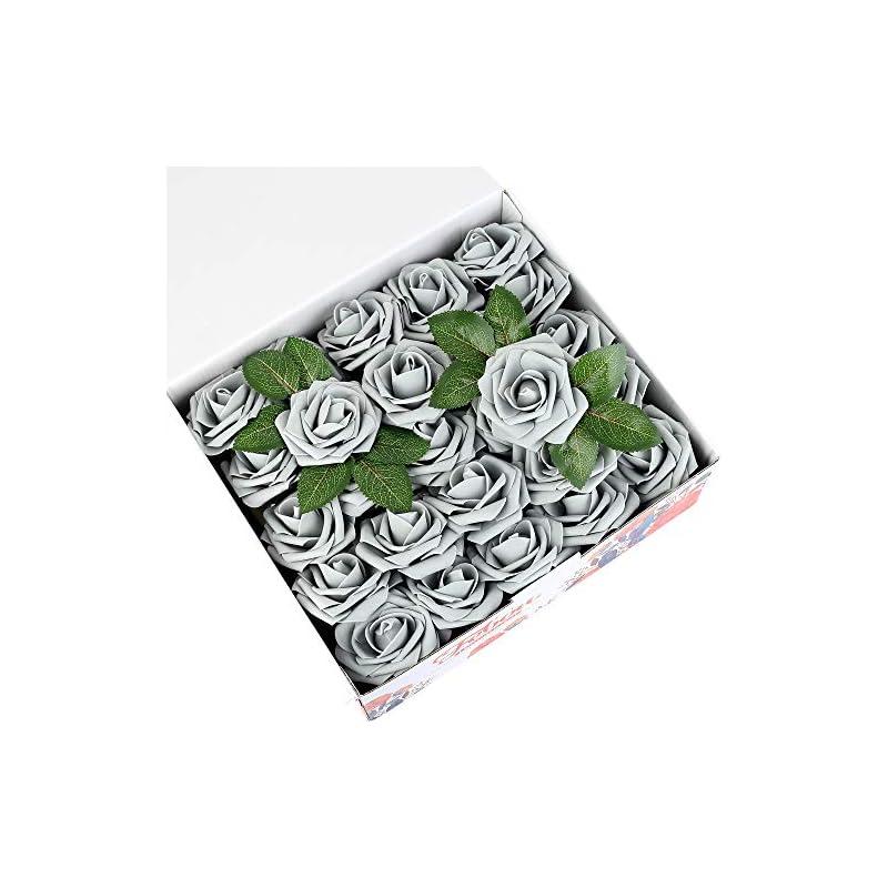 silk flower arrangements febou artificial flowers, 50 pcs real touch artificial foam roses decoration diy for wedding bridesmaid bridal bouquets centerpieces, party decoration, home office decor (standard type, grey)