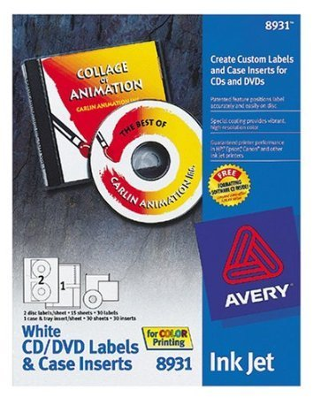 Labels Laser Case Jewel (Avery 8931 InkJet Labels CD and DVD with Case Inserts (30 Sheets))