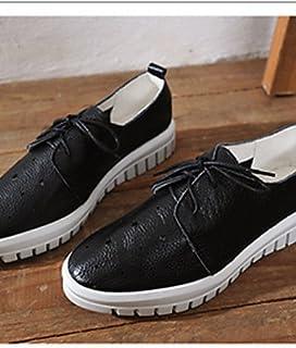 NJX/ Chaussures Femme - Décontracté - Noir / Blanc - Talon Plat - Bout Arrondi - Richelieu - Similicuir black-us5.5 / eu36 / uk3.5 / cn35 MKJMK