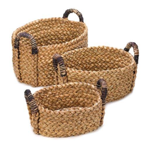 Home Storage Baskets Large Medium Small Woven Wicker Organizer Bathroom Closet Decorative Office Tray (Set Of 3)