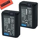 BM Premium 2-Pack of NP-FW50 Batteries for Sony DSC-RX10/B, DSC-RX10 II, DSC-RX10 III, Alpha 7, A7, A7R, A7R II, A7RII, A7S, A7S II, A7II, A3000, A5000, A5100, A6000, A6300, NEX-5, NEX-5K, NEX-5N, NEX-5T, NEX-6, NEX-7, ILCE-QX1 Digital Camera Battery