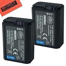 BM Premium 2-Pack of NP-FW50 Batteries for Sony Alpha A3000, Alpha A5000, Alpha A6000, A6300, A6500, Alpha 7, A7, Alpha 7R, A7R, A7R II, A7S, A7S II, A7II, A99 II, NEX-3, NEX-3N, NEX-C3, NEX-F3K, NEX-5, NEX-5K, NEX-5N, NEX-5R, NEX-5T, NEX-6, NEX-7, NEX7,